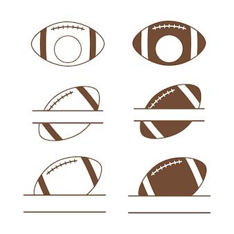 Cadres de nom de split de football américain monogramme de football