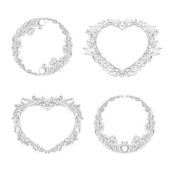 Cadres d'ornements floraux ronds et en forme de coeur