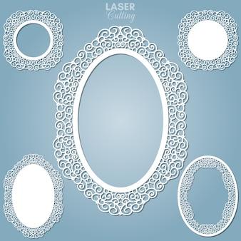 Cadres ovales abstraits découpés au laser avec tourbillons, ornement, cadre vintage. peut être utilisé pour la découpe laser. cadres photo avec dentelle pour la découpe du papier.