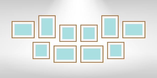 Cadres photo collage sur mur gris, collection de jeu de cadre portrait