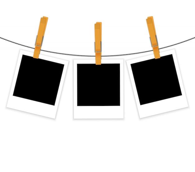 Cadres photo sur corde avec le vecteur de pinces à linge