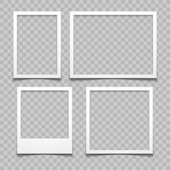 Cadres photo avec effet de vecteur ombre réaliste réaliste isolé. bordures d'image avec ombres 3d.