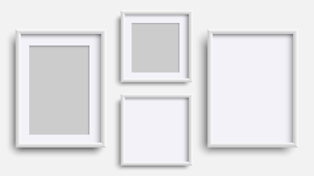 Cadres photo isolés sur blanc, ensemble de cadres blancs carrés réalistes.