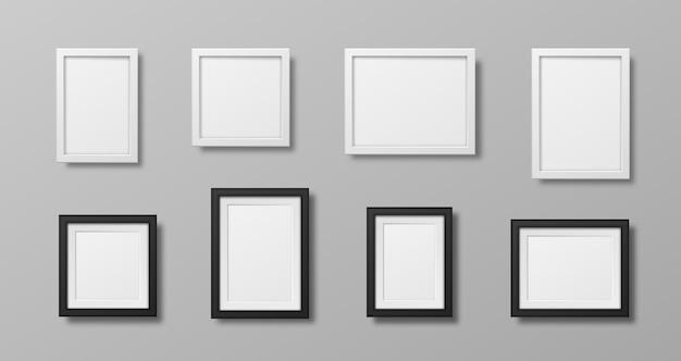 Cadres photo isolés sur blanc ensemble de vecteurs de cadres carrés noirs réalistes