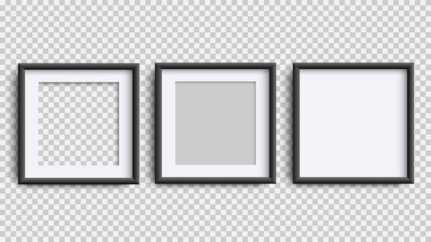 Cadres photo isolés sur blanc, réaliste carré trois cadres noirs ensemble