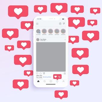 Les cadres de photo de médias sociaux s'affichent sur une application mobile avec une notification de cœur