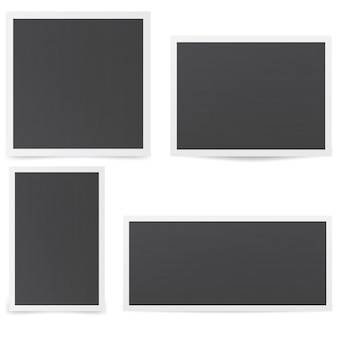 Cadres photo noirs. maquette de cadres avec diverses ombres.
