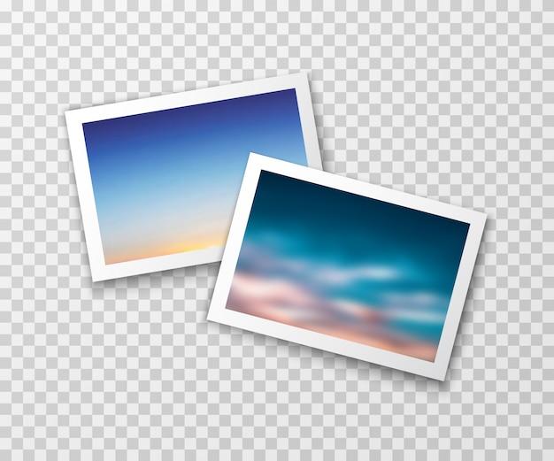 Cadres photo avec des paysages flous. photographie vectorielle