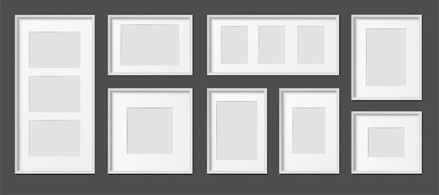Cadres photo réalistes rectangulaires en bois et plastique blancs de différentes tailles