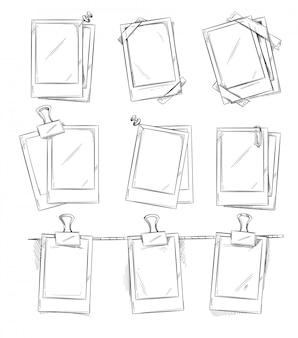 Cadres photo rétro doodle, album vintage. main dessinée cadre photos vector illustration