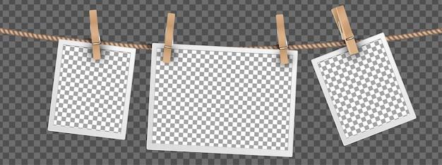 Cadres photo rétro suspendus sur une corde isolée sur fond transparent, modèles de cadres pour ensemble de photos numériques vectorielles