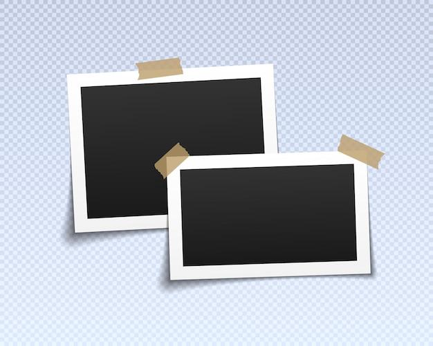 Cadres photo avec ruban adhésif cadre de photos vides vintage avec rubans adhésifs