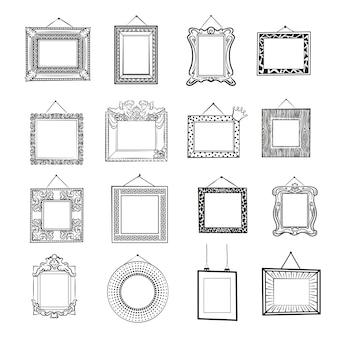 Cadres photo vierges noir et blanc. cadres vierges classiques, modernes et vintage. ensemble de dessin au trait.