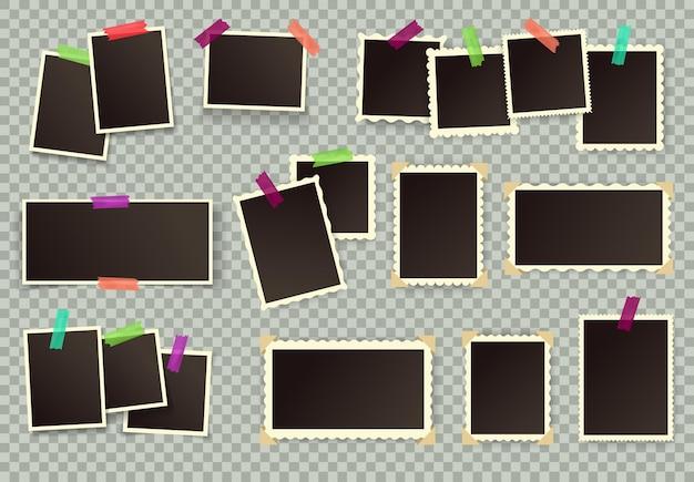 Cadres photo vintage image vierge rétro avec des bords figurés photographies ensemble de vecteurs d'album de scrapbooking