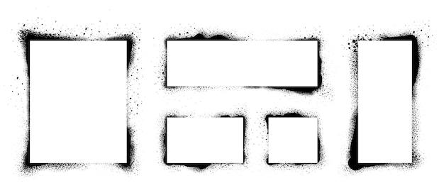 Cadres de pochoir grunge. cadre peint par pulvérisation