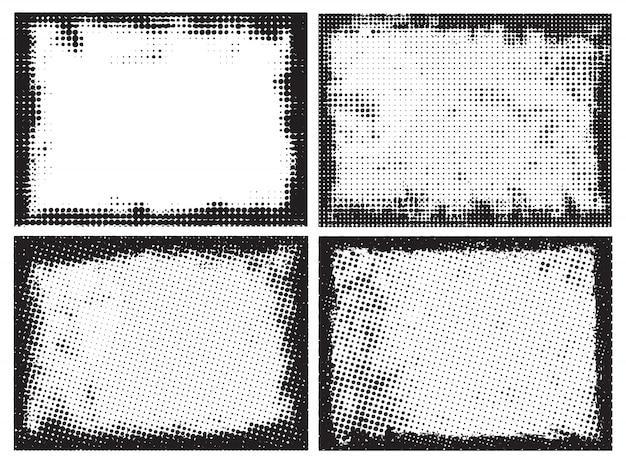 Cadres de points de demi-teintes abstraites