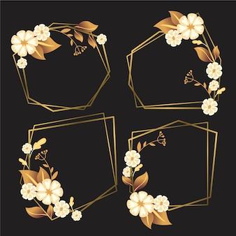 Cadres polygonaux dorés avec des fleurs élégantes