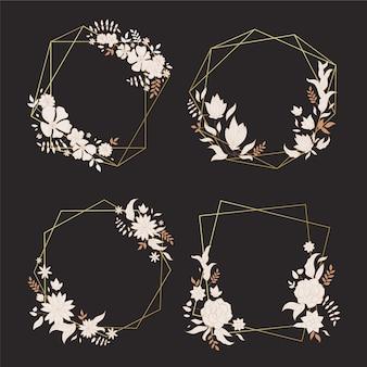Cadres polygonaux avec des fleurs élégantes