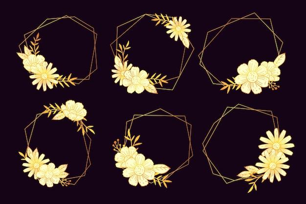 Cadres polygonaux floraux dorés