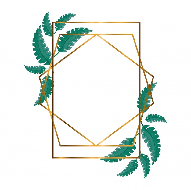 Cadres polygonaux géométriques avec des lignes et des feuilles dorées