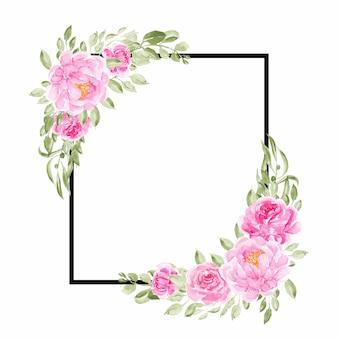 Cadres polyvalents de fleurs de pivoine rose de base