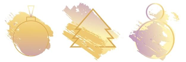Cadres pour l'ensemble de conception de nouvel an et de noël. cadres d'art créatif créés à l'aide de taches grunge d'arbre de noël et de boule d'or. pour styliser votre texte, copiez l'espace