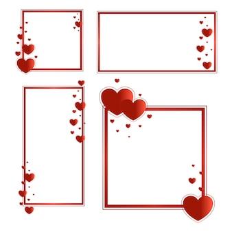Cadres pour la saint-valentin avec des coeurs rouges.