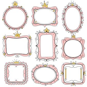 Cadres de princesse. cadres de miroirs floraux mignons roses avec couronne, frontières de certificat d'enfants. jeu de cartes d'invitation anniversaire petite fille