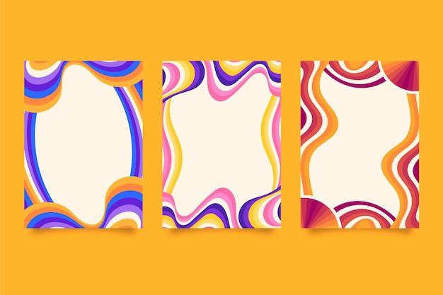 Cadres psychédéliques groovy plats dessinés à la main