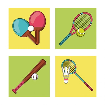 Cadres avec raquettes de sport et batte de baseball