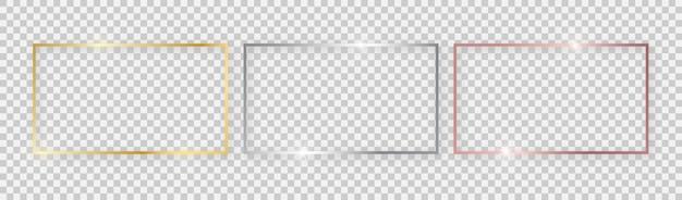 Cadres rectangulaires brillants aux effets lumineux. ensemble de trois cadres rectangulaires en or, argent et or rose avec des ombres sur fond transparent. illustration vectorielle