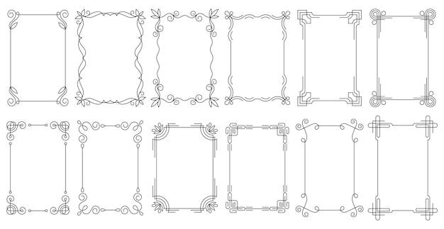 Cadres rectangulaires, avec d'élégantes bordures ornementales et des ornements floraux en filigrane.
