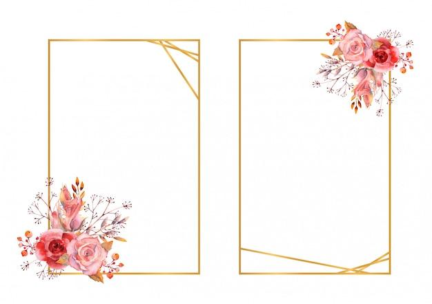 Cadres rectangulaires en or avec une composition d'aquarelle fleur isolée.