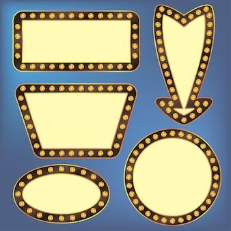 Cadres rétro avec ampoules. enseigne lumineuse électrique. illustration vectorielle.