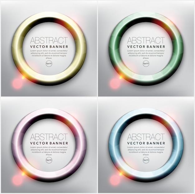Cadres ronds en 4 couleurs pastel différentes. cadres avec des lumières brillantes. isolé sur le panneau blanc. illustration. eps 10.