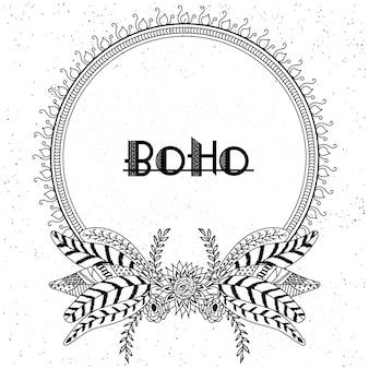 Cadres de style boho avec des éléments ethniques dessinés à la main