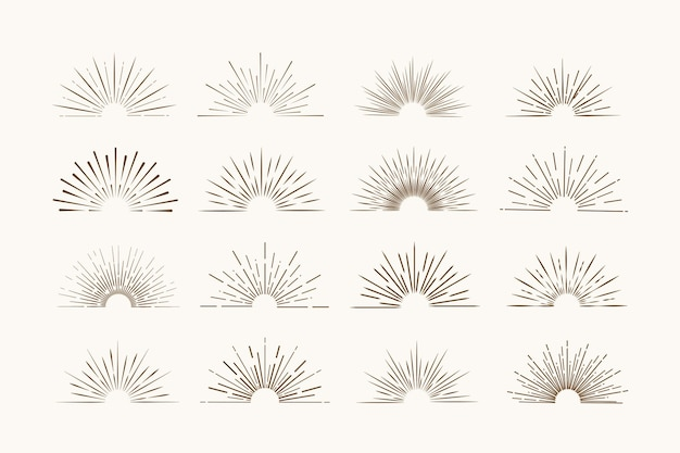 Cadres sunburst dans un style rétro sur fond clair. étiquette en étoile. bannière lumineuse.