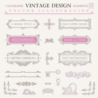 Cadres et symboles d'éléments de design vintage calligraphiques