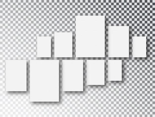 Cadres de toile ou de photo en papier blanc vierge isolés sur transparent