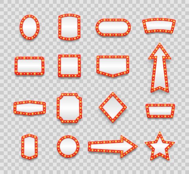 Cadres vides de chapiteau rétro et icônes de vanité de film, de casino et de théâtre de flèche pour la salle de maquillage d'artiste de cinéma de miroir de lampe.