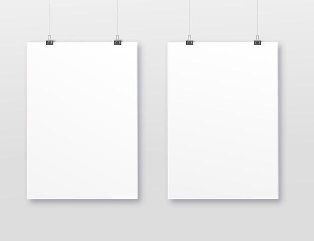 Cadres vierges a3, a4 verticaux pour photographies. papier réaliste vectoriel ou tapis de cadre photo en plastique blanc avec ombre de larges bordures