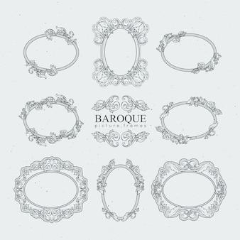 Cadres vintage détaillés en style baroque. collection de vecteur.
