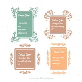 Cadres vintage floraux pour les citations