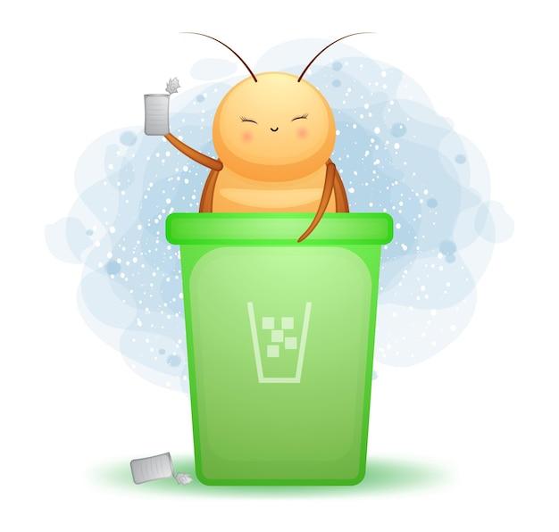 Cafard mignon doodle à l'intérieur de la poubelle