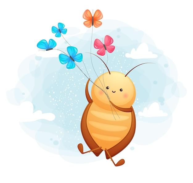 Cafard mignon doodle avec personnage de dessin animé papillon
