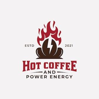 Café d'affaires rétro vintage avec feu chaud et symbole de puissance de foudre