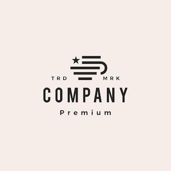 Café américain americano hipster logo vintage icône illustration vectorielle