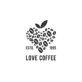 Café D'amour Avec Le Logo De Feuille Moderne Vecteur Premium