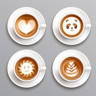 Café art latte set
