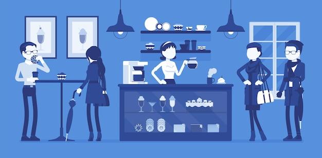 Café barista et visiteurs du café. les gens apprécient les boissons, la jeune femme vendant du latte, du cappuccino, de l'espresso et un assortiment sucré. idée de petite entreprise. illustration vectorielle, personnages sans visage